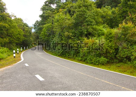 A country road running through green fields.winding road