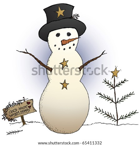 A country snowman and primitive Christmas tree in a holiday scene