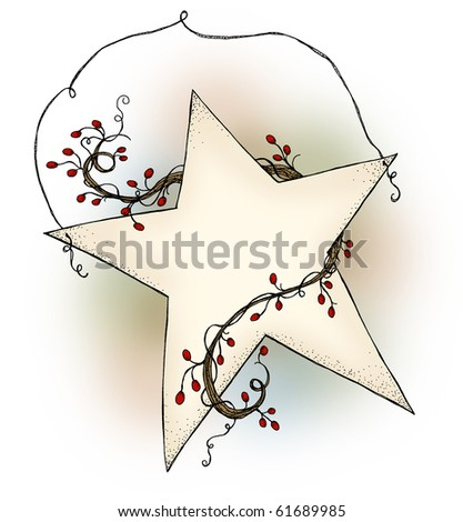 A country style hanging star with red berry garland with blank area for ad, poem or personal inscription