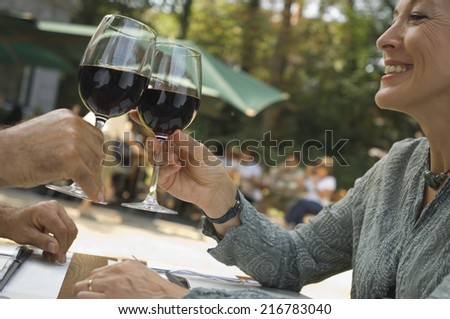 A couple drinking wine - stock photo