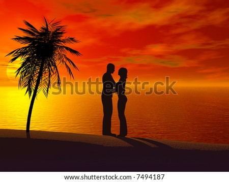 A couple embracing each other at sunset.