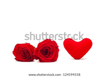 A couple gift roses on valentine day with red heart