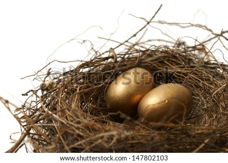 A couple gold nest eggs for the idea of a wealthy retirement fund.