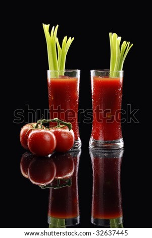 A couple of Bloody Mary or tomato juices - stock photo