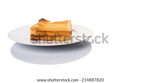 A couple of bread toast over on a plate over white background - stock photo