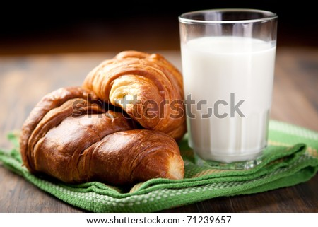 A couple of croissants and a glass of milk - stock photo