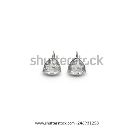 A couple of diamond earrings - stock photo