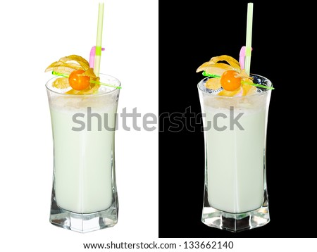 A couple of identical cocktails on the white and black background. Small DOF photo - stock photo