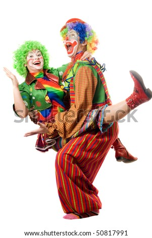 A couple of playful clowns. Isolated on white - stock photo