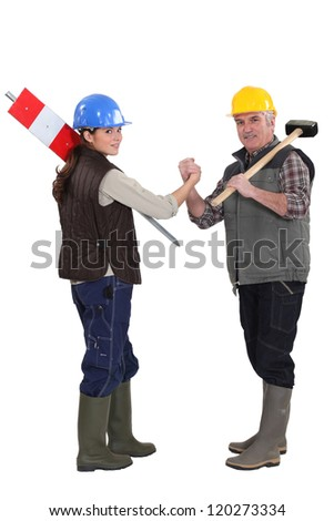 A couple of road worker. - stock photo