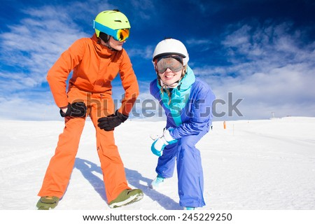 a couple on mountain vacation. Dolomiti Superski, Itlay - stock photo