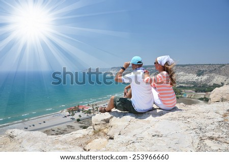 A couple on the rock. Cyprus - stock photo