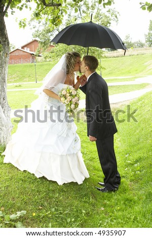 A couple on their wedding day kissing