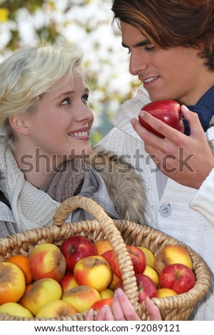 A couple that went apple picking.