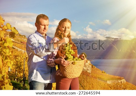A couple with a basket full of grapes. Lavaux, Switzerland - stock photo