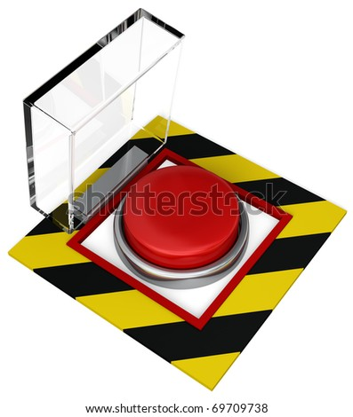 A covered emergency button with plastic cover. Isolated on white
