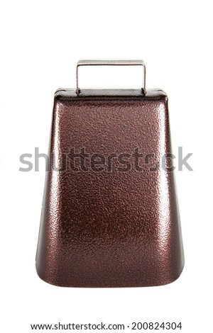 A cowbell against a white background