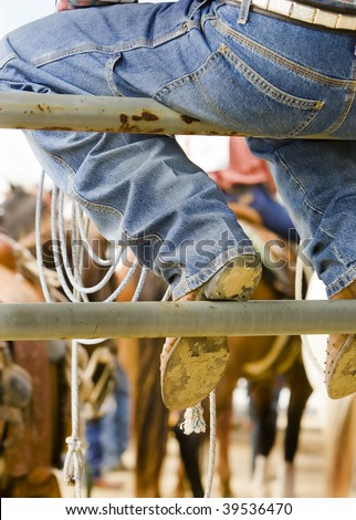 A Cowboy at a rodeo in Wyoming. - stock photo