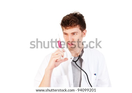 a crazy doctor with a injection needle - stock photo