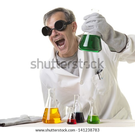 A crazy mad scientist in his laboratory experimenting on secret formulas.