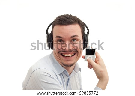 A crazy music fan listening to MP3 player