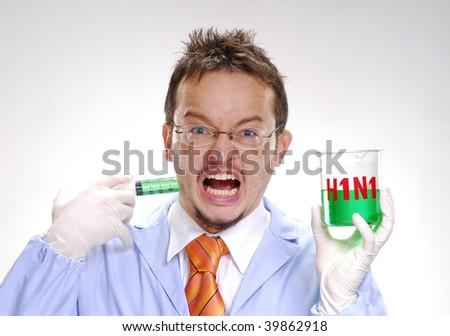 A crazy scientst injecting himself a swine flu formula. - stock photo