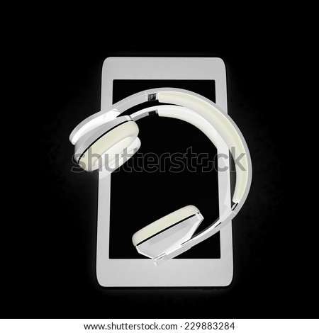 a creative cellphone with headphones isolated on black, portable audio concept  - stock photo