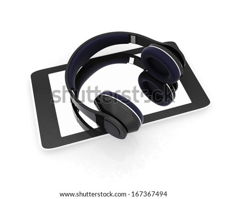 a creative cellphone with headphones isolated on white, portable audio concept  - stock photo