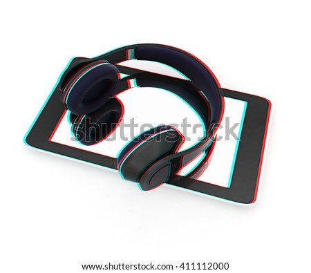 a creative cellphone with headphones isolated on white, portable audio concept . 3D illustration. Anaglyph. View with red/cyan glasses to see in 3D. - stock photo