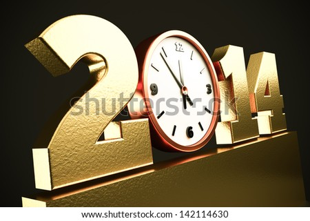 a creative 3d render of 2014 new year concept with clock - stock photo