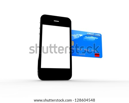 A credit card enter in a smartphone: Online payments concept - stock photo