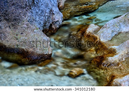 A creek in a limestone valley in Bavarian Alps.  - stock photo