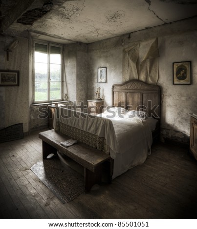 A Creepy Bedroom Scenery Cracked Walls And Wooden Floors Along With Religious Atmosphere
