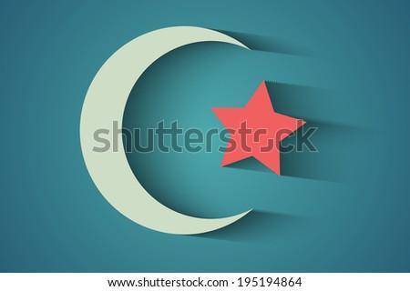 A crescent moon holiday symbol - stock photo