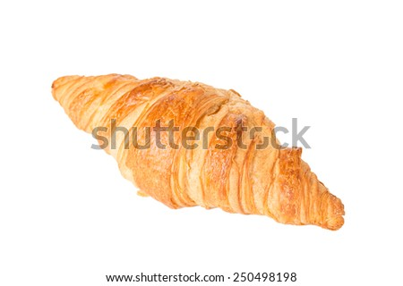 A Croissant Isolated on a White Background - stock photo