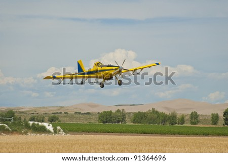 A crop duster applies chemicals to a field of potatoes. - stock photo