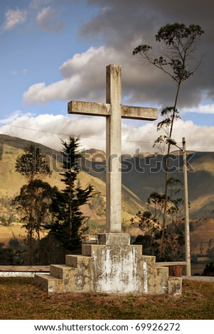 A Cross in the mountains of Ecuador near Quito - stock photo