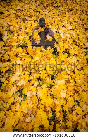 A cross monument in a cemetery with fall leaves in the background   - stock photo