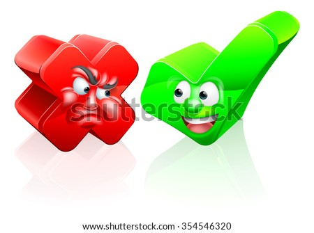 A cross or X no icon and green tick check mark icon yes icon with cartoon faces - stock photo