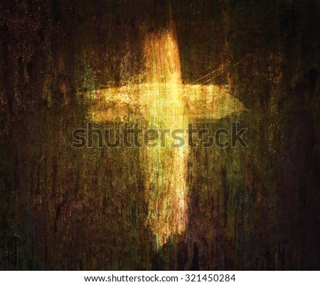A cross painted on a grunge texture background. - stock photo