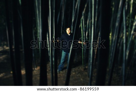 A cross process photo of a man standing in a bamboo forest