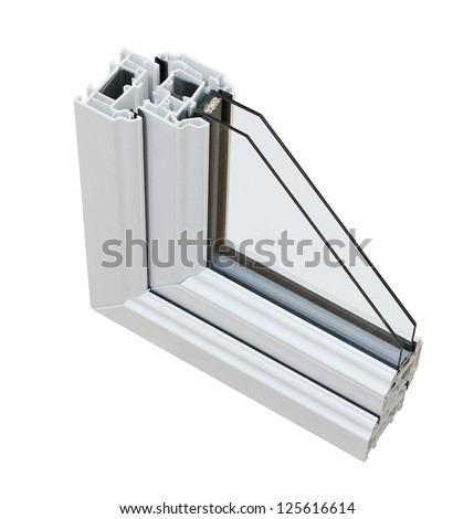 A cross section of Double glazing cut away to show the inner profile and construction quality - stock photo