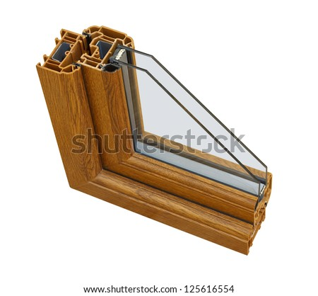 A cross section of wood effect Double glazing cut away to show the inner profile and construction quality - stock photo