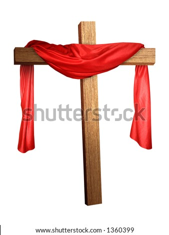 a cross with a red cloth draped on it - stock photo