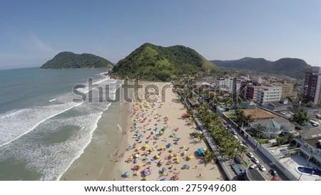 A Crowd Beach on a Summer Day in Brazilian Coastline  - stock photo