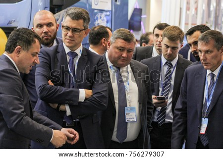 A crowd of business people at the gas forum. St. Petersburg, Russia - 3 October, 2017. Participants and visitors of the annual St. Petersburg Gas Forum.
