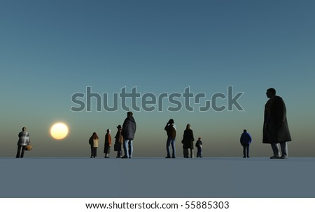 a crowd of people against a dark blue sky - stock photo