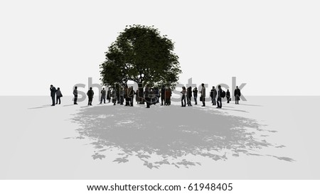 a crowd of people standing around a tree - stock photo