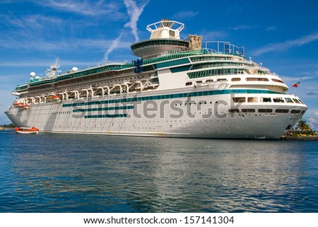 A cruise ship in Nassau, Bahamas - stock photo