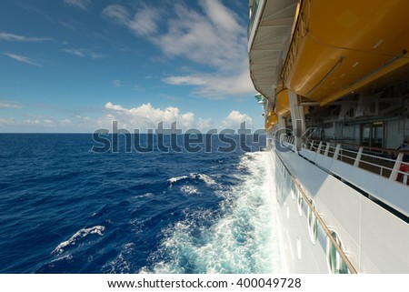 A cruise ship on the Atlantic Ocean